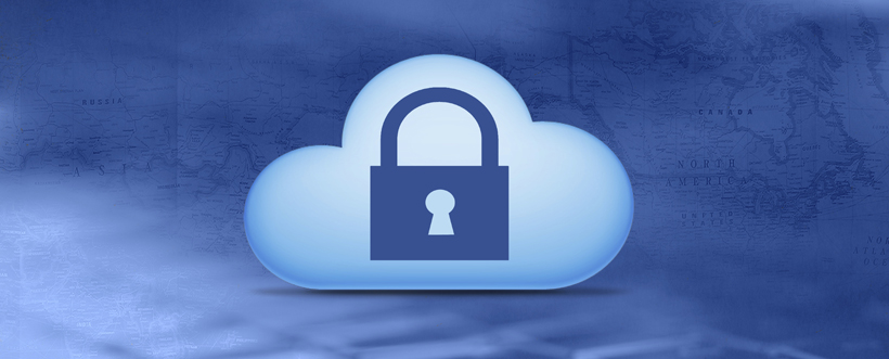 Cloud computing concept.Cloud with keyhole on digital background